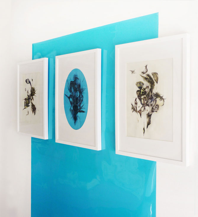 Lateral view, Filter 3 2015 triptych, graphite and tempera a gouache on paper, mounted on blue gel sheet, cm 160 x 200
