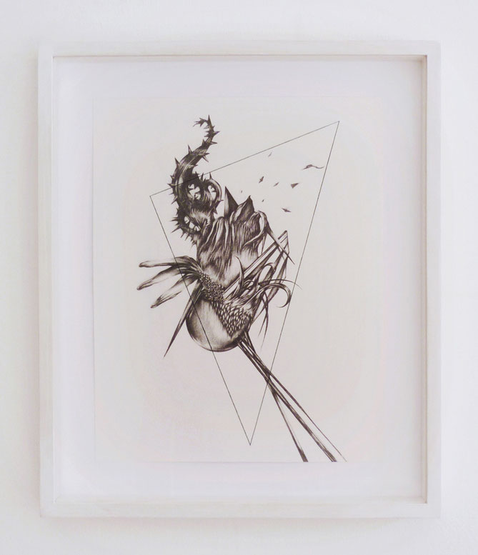Forme remote #3, graphite, ink and pastel on paper with frame, cm 37 x 43, 2015