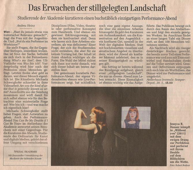 """Presseartikel, """"Der Standard, 19.01.2012"""