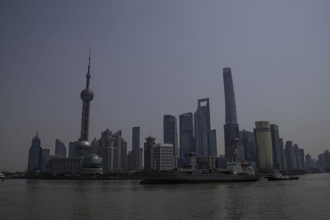 Die berühmte Skyline von Shanghais neuem Geschäftsviertel