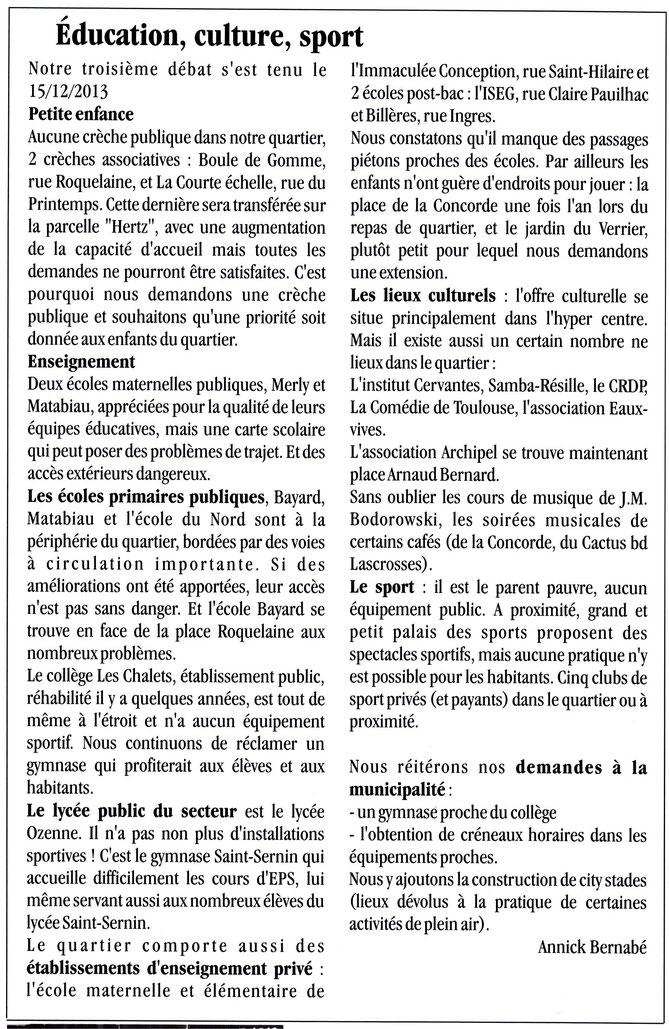 Extrait de la Gazette n°77 - mars 2014