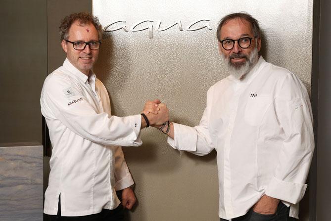 Sven Elverfeld und Norbert Niederkofler im Aqua - The Ritz-Carlton, Wolfsburg © Leitzke, Matthias