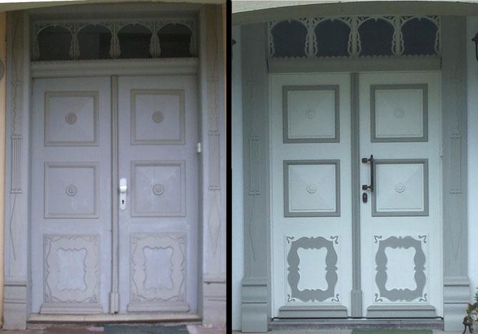 Das linke Foto zeigt eine alte Haustür im Bestand, von welcher einige Originalteile an der neuen Tür wieder verwendet wurden (z.B. die Schnitzauflagen der Füllungen, und die filigranen Sprossen im Oberlicht)