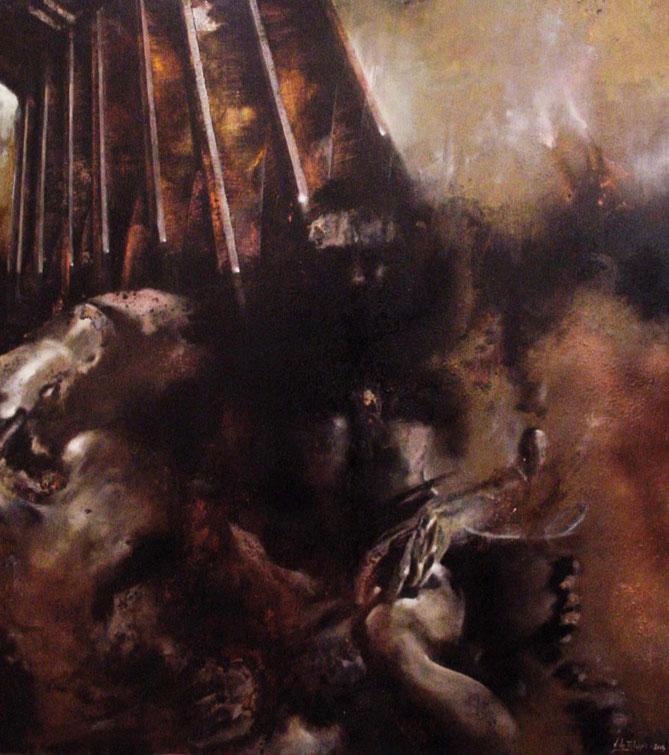 When, where, who, what (2003) tecnica mista su legno - mixed media on wood, cm (90 x 100)
