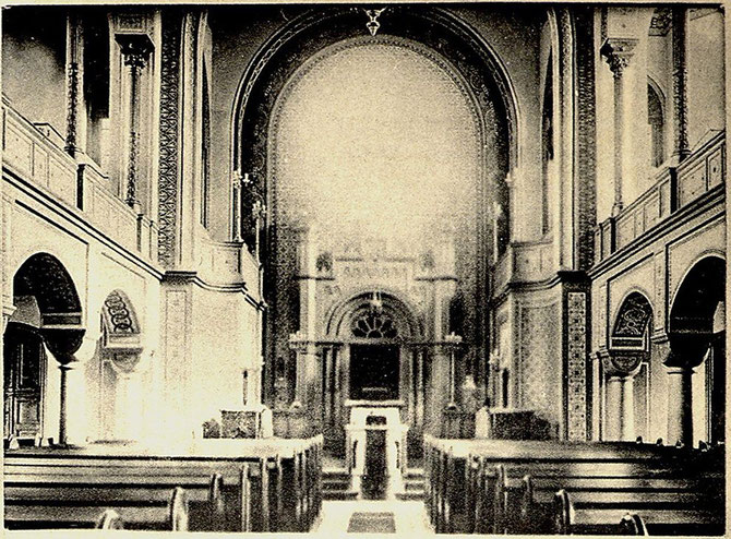 Eins von zwei bekannten Innen-Fotos der Liberalen Synagoge Darmstadt (ca. 1900). Foto: Stadtarchiv Darmstadt