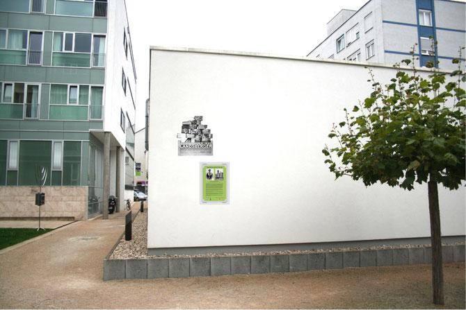Die beiden vom FÖRDERVEREIN LIBERALE SYNAGOGE initiierten Julius-Landsberger-Gedenktafeln (2013) am Julius Landsberger-Platz (2011) Foto: FLS
