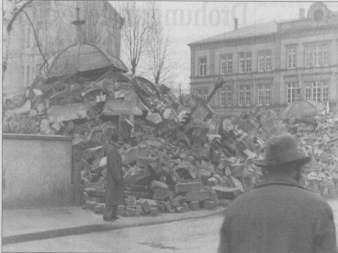 Die Liberale Synagoge nach dem Novemberpogrom von 1938 / Bild: Jüd. Museum DA