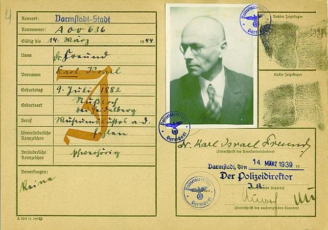 """Der """"Juden""""-Paß Karl  Freunds - Stigmatisierung durch den NS-Unrechtsstaat"""