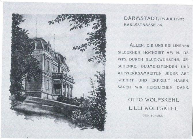Die berühmte Villa Wolfskehl (im 2.Weltkrieg zerstört)im Bessunger Wolfskehlschen Garten