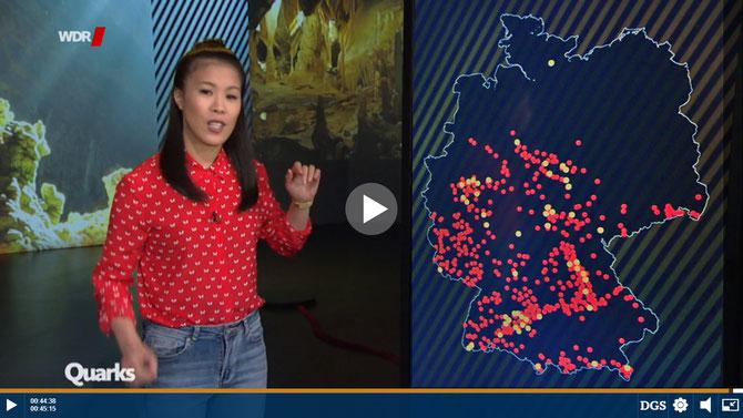 Sendung `Quarks` des WDR vom 12.3.2019 `Rätselhafte Höhlen – wie wir die Welt unter unseren Füßen entdecken` // zum Anschauen klicke auf das Bild