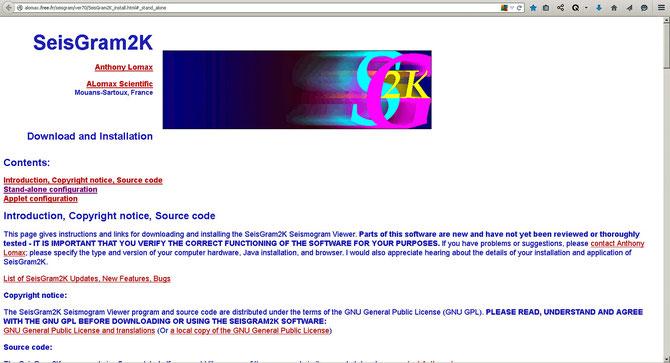 Seite für Software-Installation des Seismogram Viewer