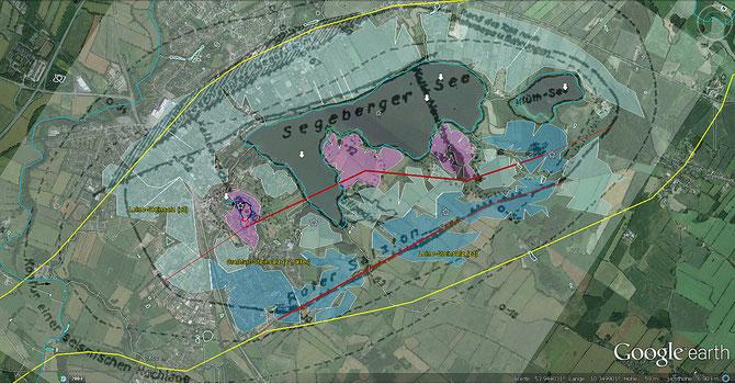 Die dunkel- u. hellroten Linien zeichnen die mutmaßlichen Grenzverläufe nach - zwischen dem durchschlagenden Straßfurt-Steinsalz (Na2) und dem umgebenden Leine-Steinsalz (Na3)