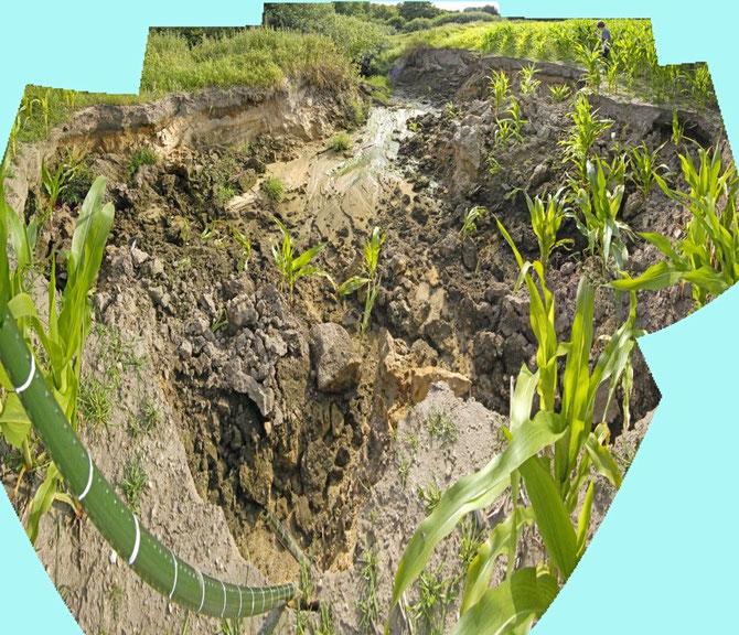 A) Bildmontage zu der Erosionsform