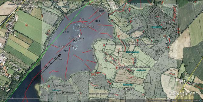 Verortung der vermuteten Quellen im Großen Segeberger See, vermutl. gespeist  über Kluftsystem im Anhydrithärtling unter/um Kalkhausberg