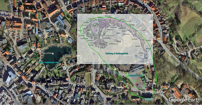 Kalkberg & Kalkberghöhle im alten Stadtkern von Bad Segeberg (Höhen bezogen auf NN, Tiefen bezogen auf GOK). Grün = Gesteinskörper Kalkbergscholle + die Urform der Dahmlos-Kuhle (ein Erdfall) + hellblau = Kleiner Segeberger See im Jahre 1804
