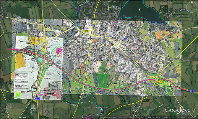 geplanter Trassenverlauf A20-Südumgehung und Kreuz A20-A21 (LN / SZ, Bauamt)