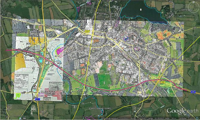 geplanter Trassenverlauf A20-Südumgehung und Kreuz A20-A21 (LN / SZ, Bauamt der Stadt Bad Segeberg)