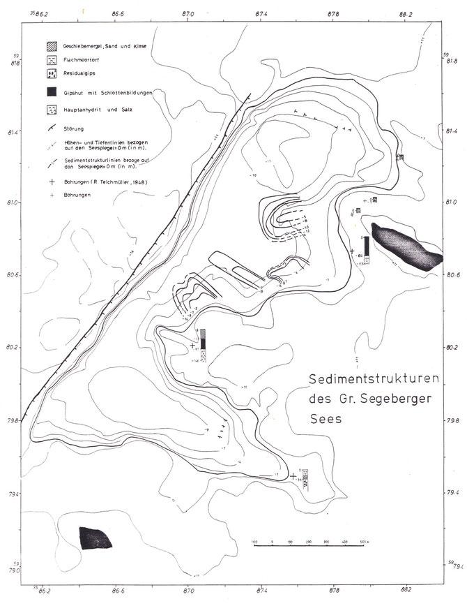 """Die Karte """"Sedimentstrukturen des Großen Segeberger Sees"""" nach TSE von 1983 zeigt abgeleitet aus den seismischen Messungen und Untersuchungen des Seegrundes durch Tauchgänge die Lage der Anhydrithärtlinge unter den Seebecken"""