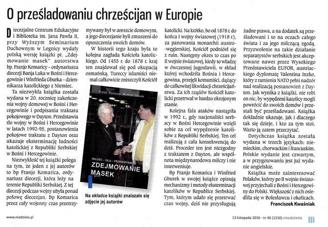 """Beschreibung der polnischen Ausgabe in der polnischen katholischen Wochenzeitung """"Niedziela"""", 13. Oktober 2016."""
