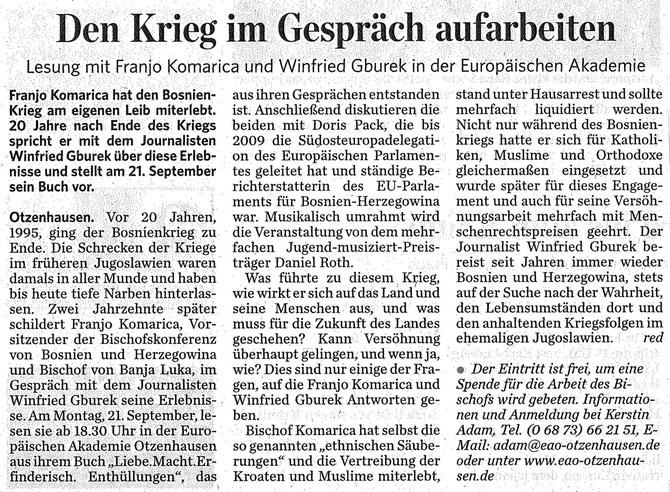 Eine Meldung aus der Saarbrücker Zeitung, 17. September 2015.