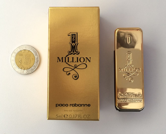 MINIATURA DE PERFUME ONE MILLION vs MONEDA DE 5 PESOS
