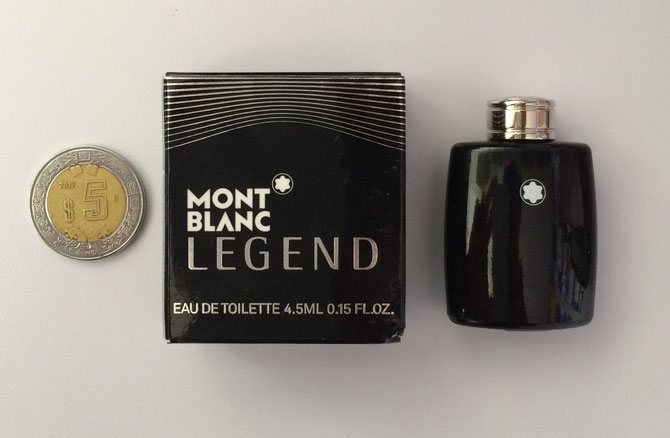MINIATURA DE PERFUME LEGEND MONT BLANC vs MONEDA DE 5 PESOS