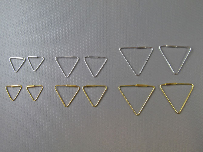 Ohrringe Dreiecke echt 925er Silber und Silber vergoldet