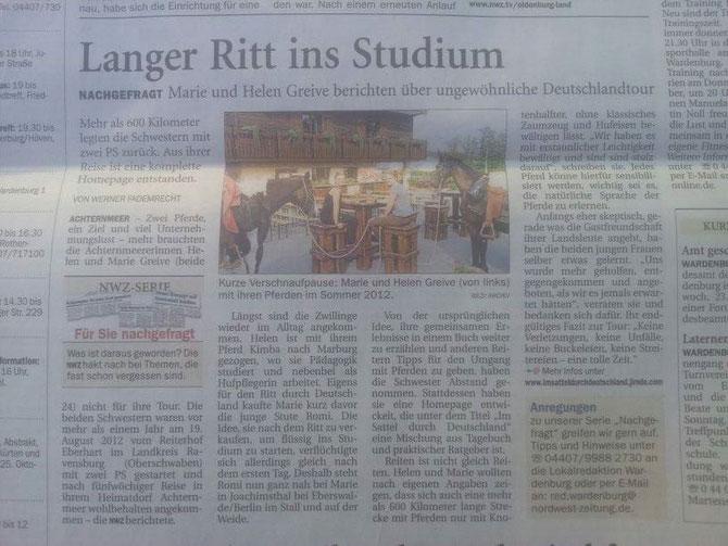 Zeitungsartikel der NWZ von Werner Fademrecht, 22.1022013