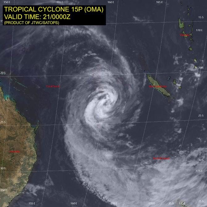 Infrared satellite image of tropical cyclone Oma (21/02/2019). From JTWC.