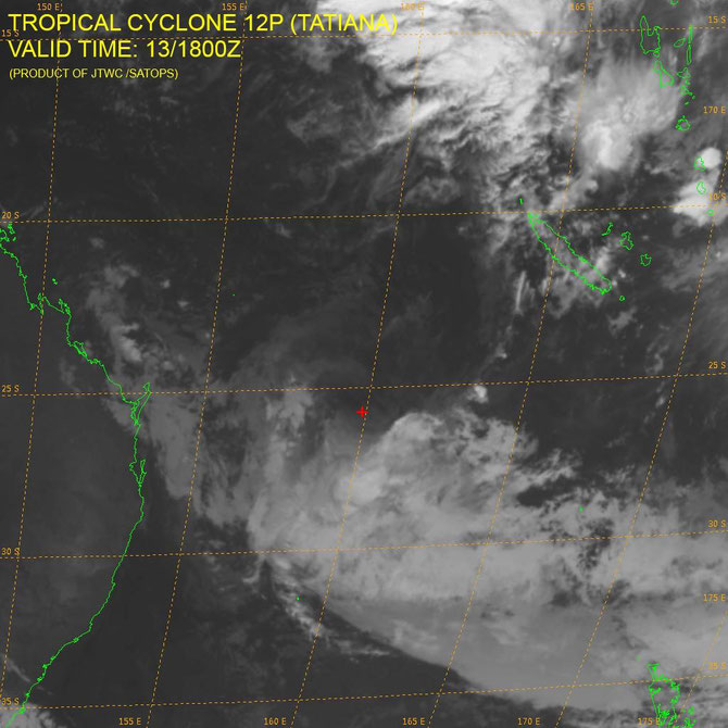 Ex-Tropical Cyclone Tatiana in the Coral Sea, from JTWC (14/02/2016)