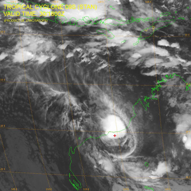 Tropical Cyclone Stan crossing the Pilbara coast, from JTWC (31/01/2016)