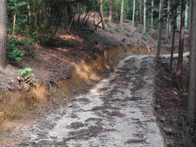 間伐材を有効利用する為に森林内に作業道を必要な場所に最低限の延長を開設します。幅員や切土高には安全基準があります。
