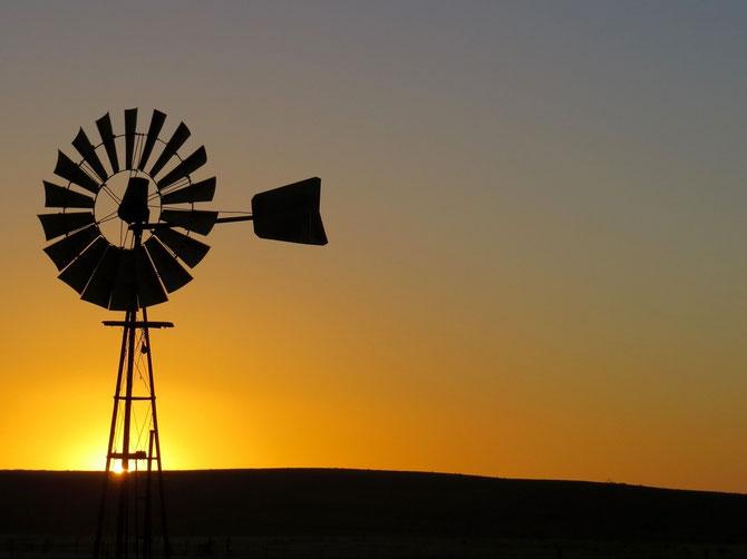Windwasserpumpe im Abendlicht