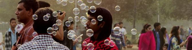 Seifenblasen zum Delhi - Indien  Abschied