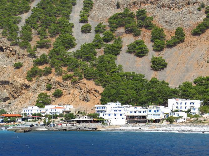 Agia Roumeli - Eingang zur Samaria Schlucht vom Meer aus.