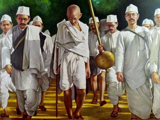 Gandhi mit Salzmarsch - Weggefährten