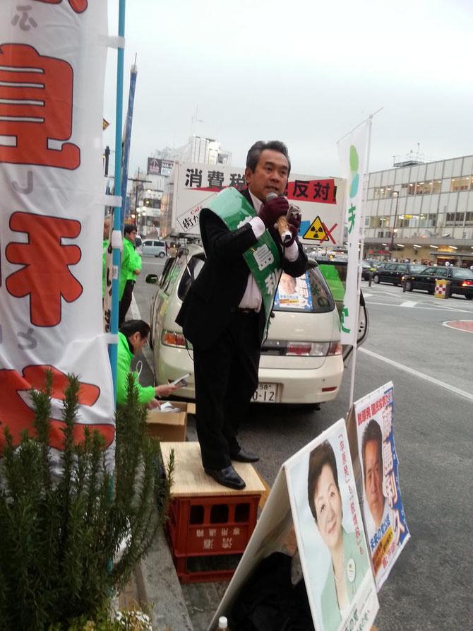 2012年12月15日 大宮駅東口 藤島利久候補の演説