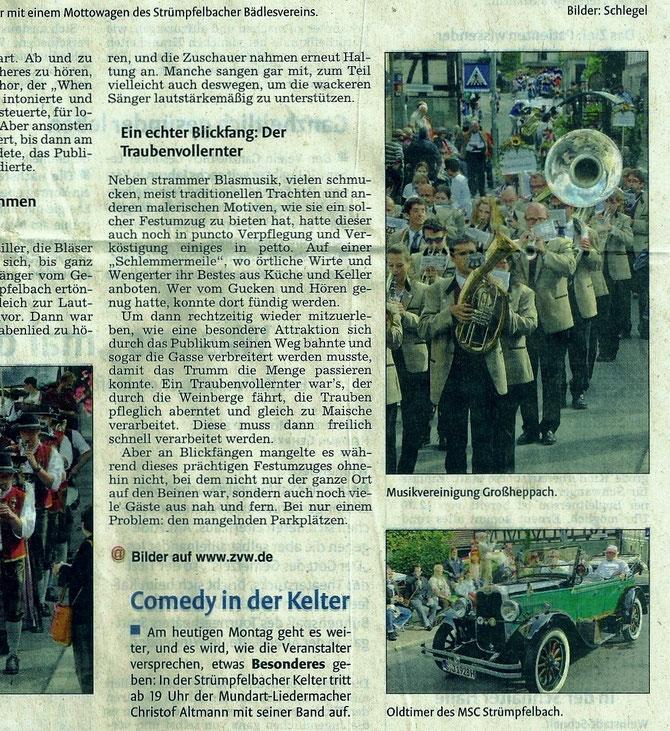 Zeitungsartikel vom 30.09.2013 in der Waiblinger Zeitung das Bild rechts zeigt den Oldtimer von Herrn Reinmuth mit unseren Ehrenmitgliedern Winfried Heubach und Karl Kaiser