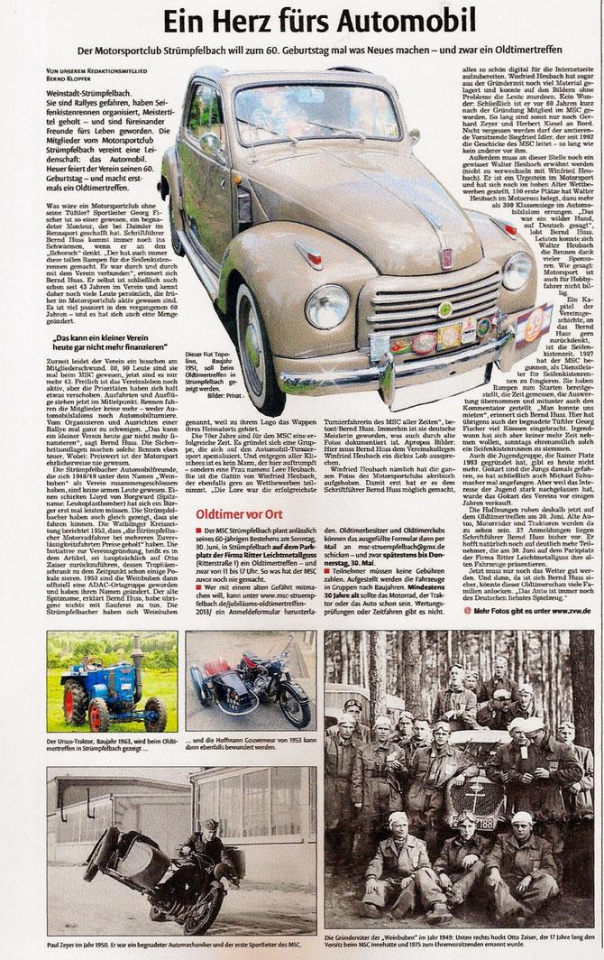 Zeitungsartikel vom 27.04.2013 ZVW