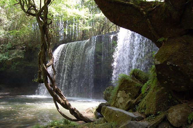 鍋ヶ滝 滝の裏に回る道は崩れて通行止め