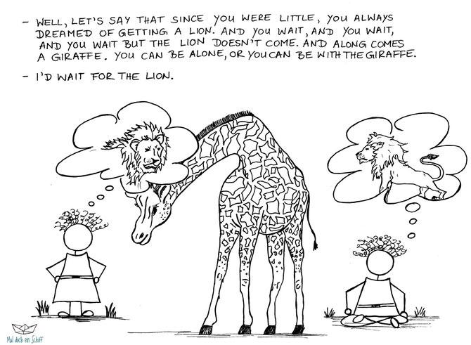 Giraffe Löwe ZItat Maldocheinschiff Regina Wahl
