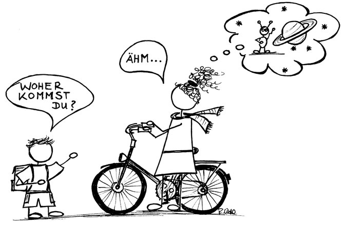 Morgens Fahrrad Alien Maldocheinschiff Kleiner Junge