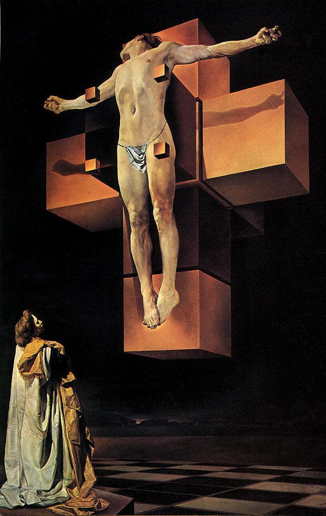 「超立方体的人体(磔刑)」(1954年)