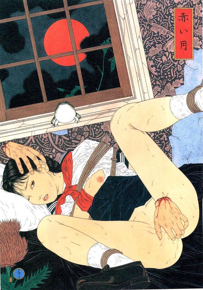 「赤い月」(1997年)。誰かわからない手首だけで少女を襲う。カエルが窓枠で首を膨らませ、窓から赤くなった満月の月が少女をのぞいている。お気に入り作品の1つ。