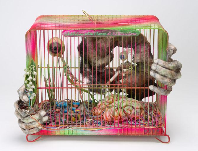 「人間とトランジスタとの共生」1980−81年:「危機の中の芸術家の肖像」の発展形。ほぼシュルレアリスム。