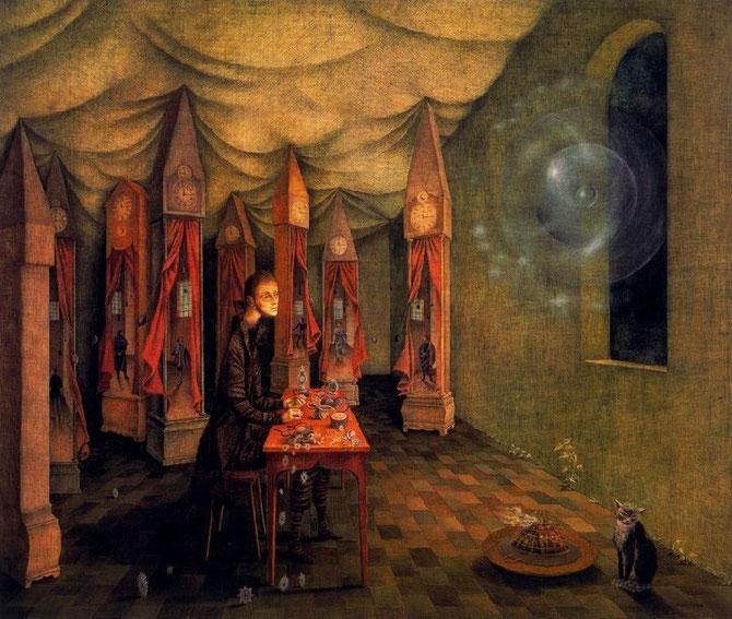レメディオス・バロ「黙示録と時計師」(1955年)