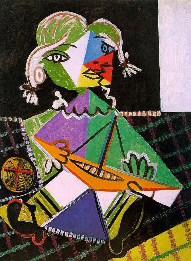 パブロ・ピカソ「舟と少女」(1938年)