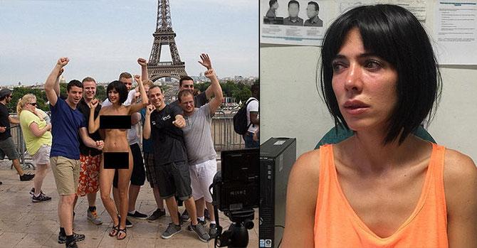 2015年7月にパリ・エッフェル塔前で行われた「裸の自撮り」シリーズ(左)と、逮捕され憔悴しているミロ・モアレ(右)