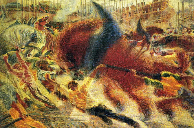 ボッチョーニ「反乱する都市」(1910年)