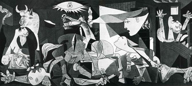「ゲルニカ」。右端の手をあげて絶叫している女性がドラ・マール。左端の子どもを抱えている女性がマリー=テレーズである。